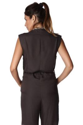 Grauer langer Wickel-Overall mit Taschendetail von Q2 - Rückenansicht