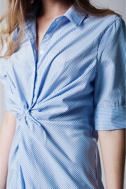Blau-weiß gestreiftes Hemdkleid von Q2 - Detailansicht