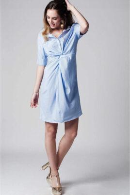 Q2 Blau-weiß gestreiftes Hemdblusenkleid – Ganzkörperansicht