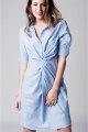 Blau-weiß gestreiftes Hemdkleid von Q2 - Vorderansicht