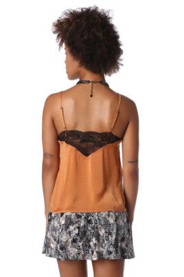 Orange Camisole-Top mit Spitzeneinsatz am Ausschnitt und Rücken von Q2 - Rückenansicht