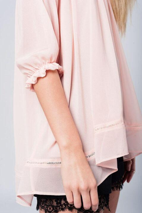 Rosa dünne Oversize Bluse mit gekreuzten Trägern am Rücken und 3/4 Ärmel von Q2 - Seitenansicht