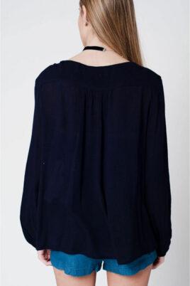 Marineblaue langarm Tunika-Bluse mit Stickerei und Quastbändern aus Viskose von Q2 - Rückenansicht