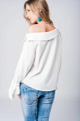 Schulterfreie Langarm-Bluse mit großen Schleifen an Ärmelenden aus Baumwolle von Q2 - Rückenansicht