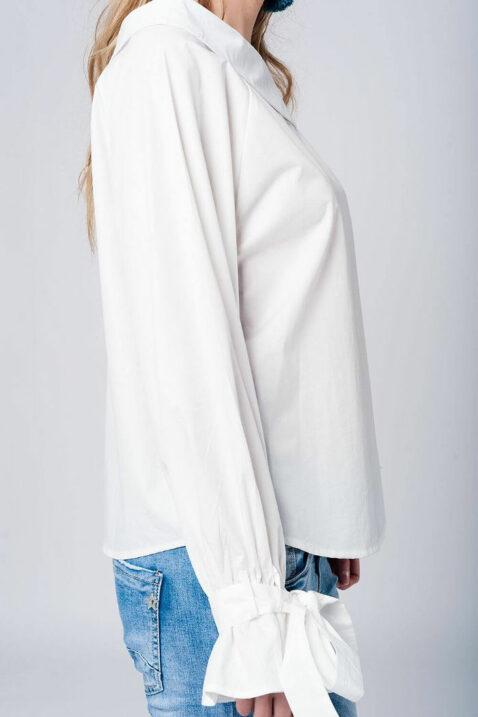 Schulterfreie Bluse langarm mit großen Schleifen an Ärmelenden aus Baumwolle von Q2 - Seitenansicht