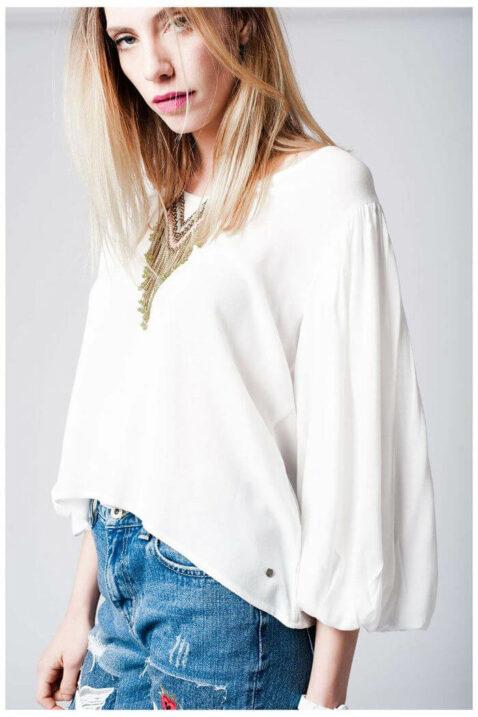 Weiße Oversize Bluse mit Fledermausärmeln in übergroßer Passform von Q2 - Detailansicht