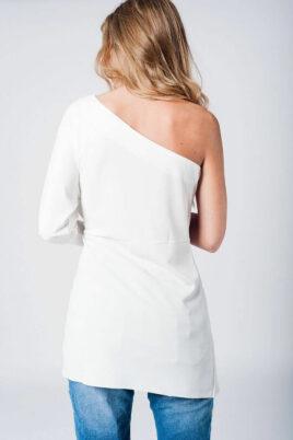 Weißes One-Shoulder Minikleid im asymmetrischem Design von Q2 - Rückenansicht