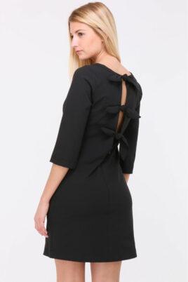 Schwarzes kurzes Kleid mit Schleifen am Rücken von Callisto - Rückenansicht