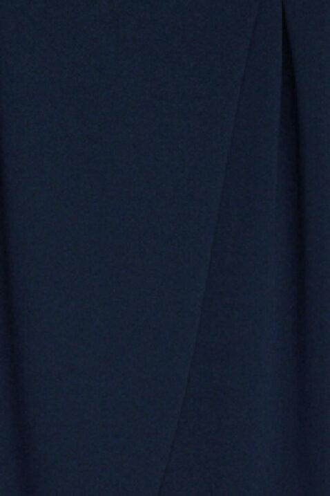 Dunkelblaue marineblaue asymmetrische 7/8-Stoffhose von Callisto - Detailansicht