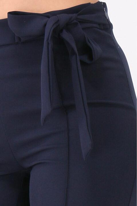 Dunkelblaue 7/8 Bundfaltenhose mit Schleife Slim fit von Callisto - Detailansicht