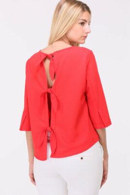 Rote Bluse mit Schleifen und offenem Rücken von Callisto - Rückenansicht