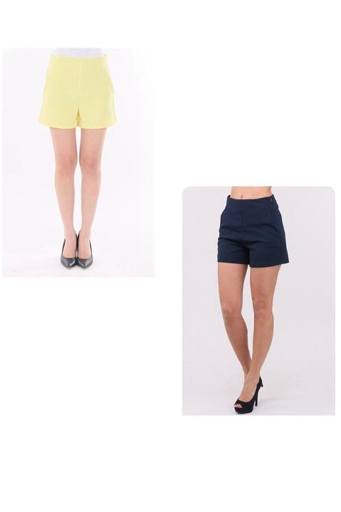 Gelbe kurze Damen-Shorts mit Taschen von Callisto - Detailansicht