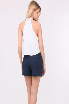 Blaue kurze Damen-Shorts mit Taschen von Callisto - Rückenansicht