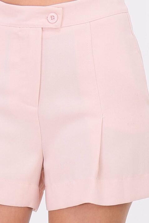 Rosa kurze Damen-Bundfalten-Shorts mit Taschen von Callisto - Detailansicht