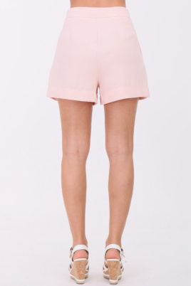 Rosa kurze Damen-Bundfalten-Shorts mit Taschen von Callisto - Rückenansicht