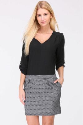 Schwarzes 2-in-1 Kleid aus Bluse und Rock mit 3/4-Ärmel von REVD'ELLE PARIS - Vorderansicht