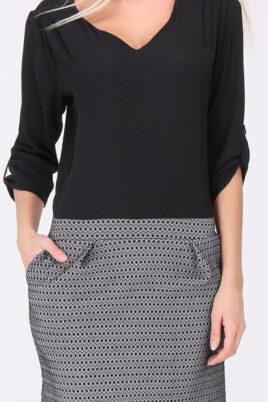chwarzes 2-in-1 Kleid aus Bluse und Rock mit 3/4-Ärmel von REVD'ELLE PARIS - Detailansicht