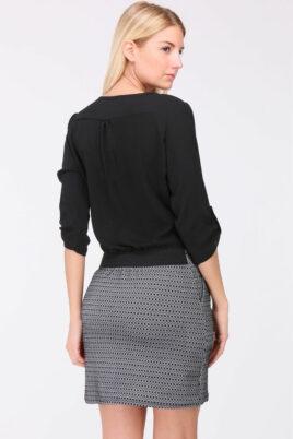 Schwarzes 2-in-1 Kleid aus Bluse und Rock mit 3/4-Ärmel von REVD'ELLE PARIS - Rückenansicht
