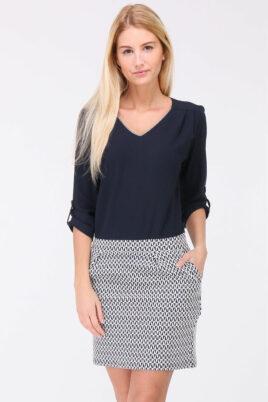 REVD'ELLE PARIS blaues 2-in-1 Kleid aus Bluse und Rock mit 3/4-Ärmel – Vorderansicht