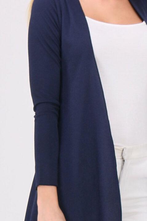 Blauer Damen Cardigan in Wasserfall-Optik von REVD'ELLE PARIS - Detailansicht