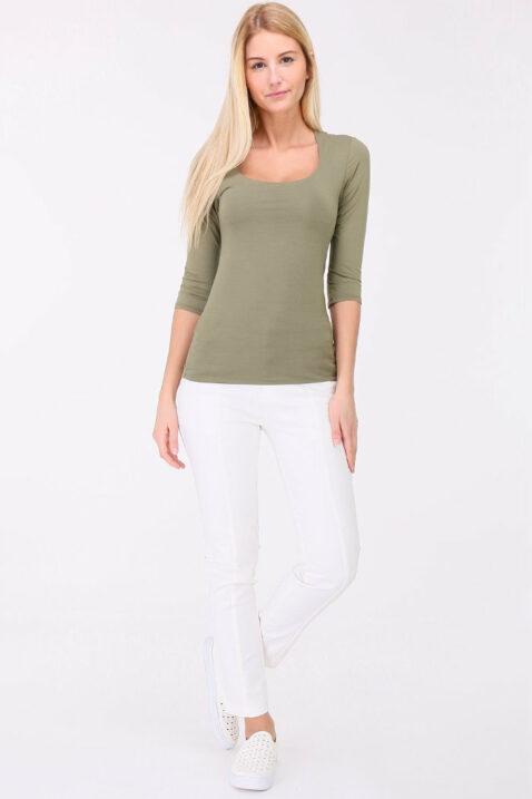 Khaki grün Basic-Shirt Damen 3/4-Arm von REVD'ELLE PARIS - Ganzkörperansicht