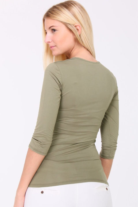 Khaki grün Basic-Shirt Damen 3/4-Arm von REVD'ELLE PARIS - Rückenansicht