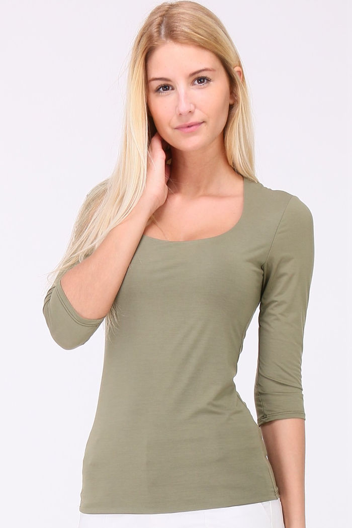 REVD'ELLE PARIS khaki grün Basic-Shirt Damen 3/4-Arm – Vorderansicht