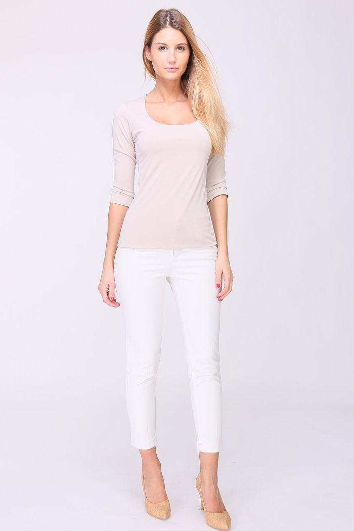 Taupe Basic-Shirt Damen 3/4-Arm Viskose von REVD'ELLE PARIS - Ganzkörperansicht