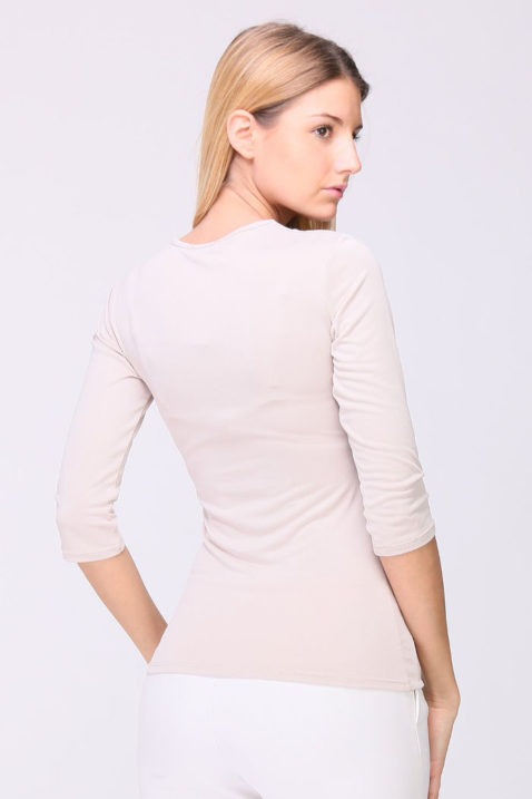 Taupe Basic-Shirt Damen 3/4-Arm Viskose von REVD'ELLE PARIS - Rückenansicht