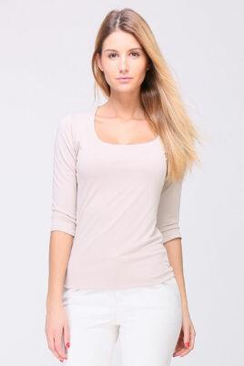 REVD'ELLE PARIS taupe Basic-Shirt Damen 3/4-Arm Viskose- Vorderansicht