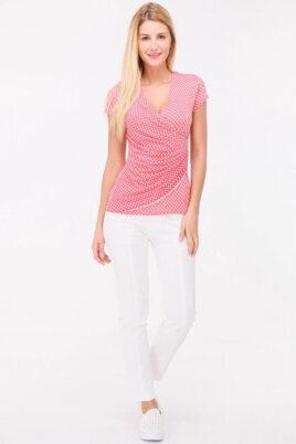 Rosa Damen Shirt in Wickeloptik und gepunktet für Damen von REVD'ELLE PARIS - Ganzkörperansicht