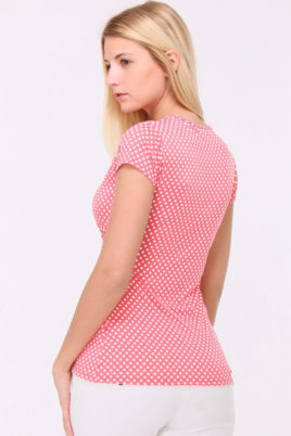 Rosa Shirt in Wickeloptik und gepunktet für Damen von REVD'ELLE PARIS - Rückenansicht