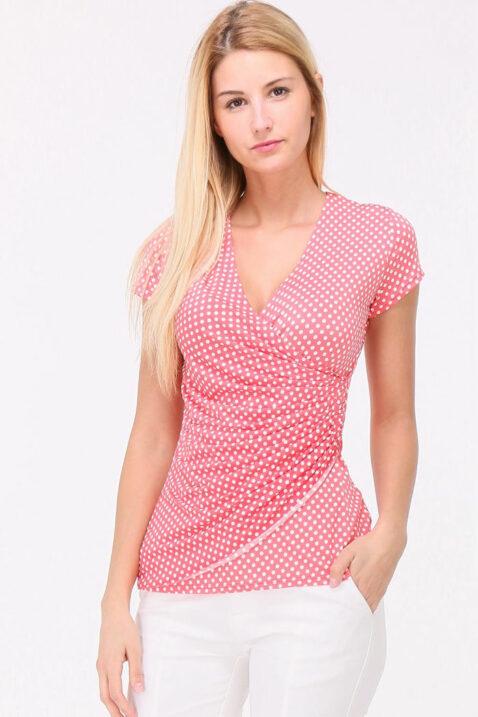 Rosa Shirt in Wickeloptik und gepunktet für Damen von REVD'ELLE PARIS - Vorderansicht