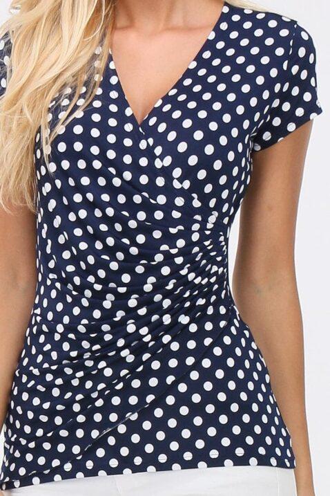 Marineblaues Shirt in Wickeloptik weiß gepunktet Damen von REVD'ELLE PARIS - Detailansicht