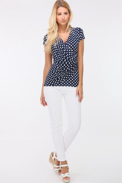 Marineblaues Shirt in Wickeloptik weiß gepunktet Damen von REVD'ELLE PARIS - Ganzkörperansicht