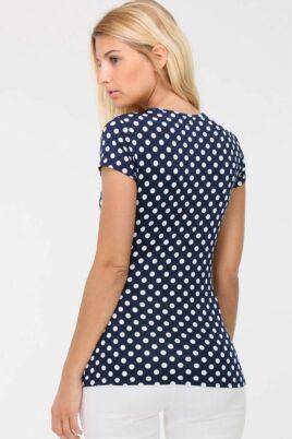 Marineblaues Shirt in Wickeloptik weiß gepunktet Damen von REVD'ELLE PARIS - Rückenansicht
