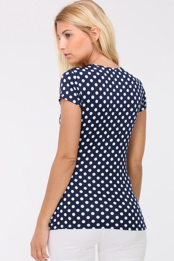 a81962748dfe44 Marineblaues Shirt in Wickeloptik weiß gepunktet Damen von REVD ELLE PARIS  - Rückenansicht