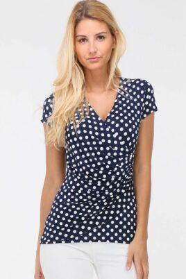 REVD'ELLE PARIS blaues marineblaues Shirt in Wickeloptik weiß gepunktet Damen – Vorderansicht