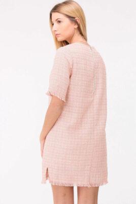 Rosa kurzes Jacquard-Kleid mit Fransen an Saumenden von Cherry Paris - Rückenansicht