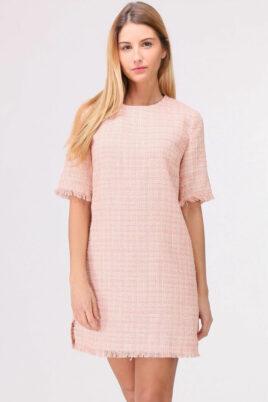 Cherry Paris rosa kurzes Jacquard-Kleid mit Fransen an Saumenden – Vorderansicht