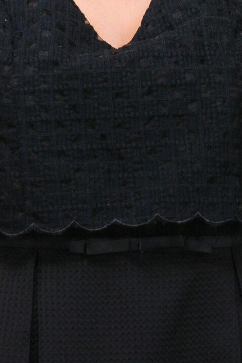 Schwarzes kurzes Freizeitkleid & Trägerkleid in Top-Optik von LOVIE & Co - Detailansicht