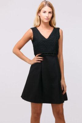 LOVIE & Co schwarzes kurzes Freizeitkleid & Trägerkleid in Top-Optik – Vorderansicht
