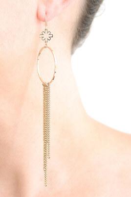 Goldene Ohrhänger Ohrring Paris Eiffelturm von Mademoiselle Felee - Trageansicht