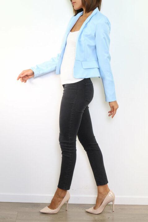 Blauer hellblauer Damen Blazer im strukturierten Design von Attentif Paris - Kurzblazer - Seitenansicht