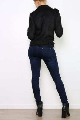 Schwarze Damen Jacke im Wildlederlook - Bikerjacke & Kunstlederjacke von Ella Kingsley - Rückenansicht