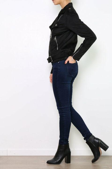Schwarze Damen Jacke im Wildlederlook - Bikerjacke & Kunstlederjacke von Ella Kingsley - Seitenansicht