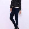 Schwarze Damen Fellimitatjacke mit großem Kragen - Kunstlederjacke von Ella Kingsley - Seitenansicht