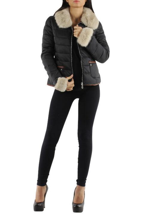 Schwarze Damen Steppjacke mit abnehmbaren Webpelz-Kragen von Jessy Line - Vorderansicht