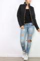Schwarze Damen Steppjacke mit herausnehmbarer Kapuze - Übergangsjacke von Joy Mod - Ganzkörperansicht