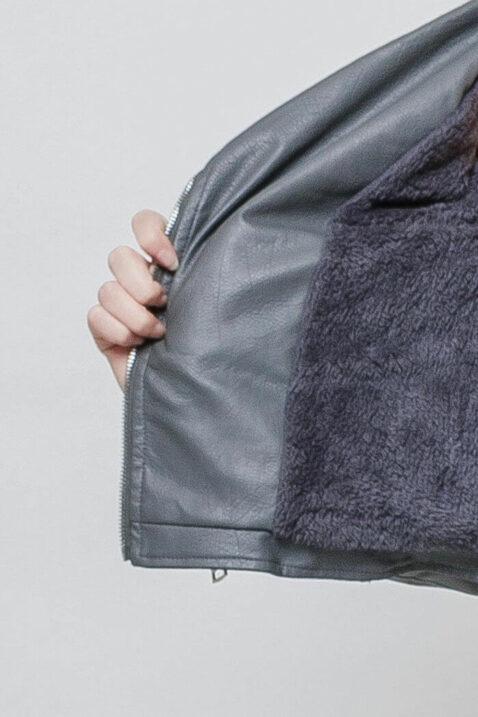 Graue Damen Kunstlederjacke mit Nieten & Perlen - kurz & gefüttert von J&W Paris - Innenansicht